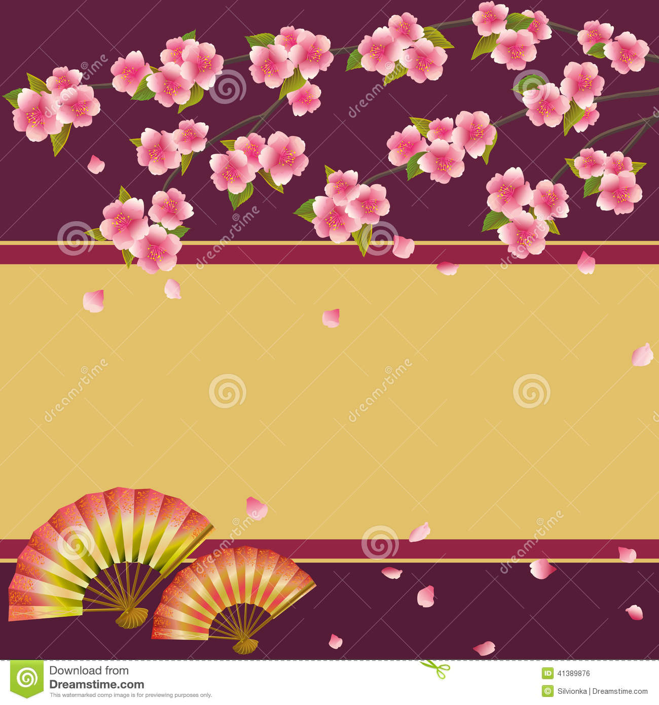 background with japanese cherry tree sakura and fans stock