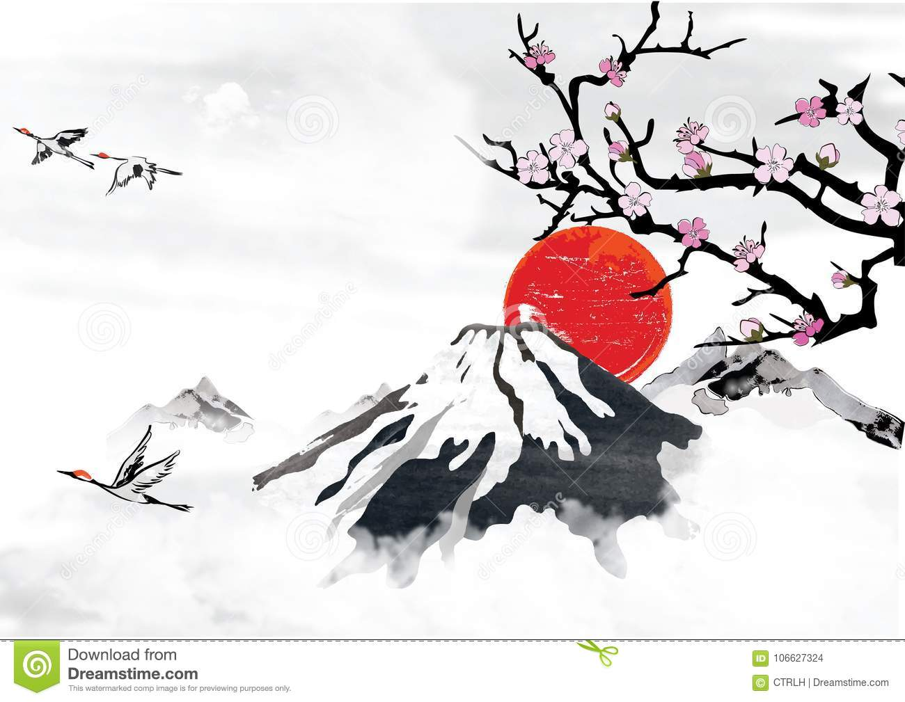 Background for japanese greeting cards with stylized mountains and download background for japanese greeting cards with stylized mountains and flying crane birds stock illustration m4hsunfo