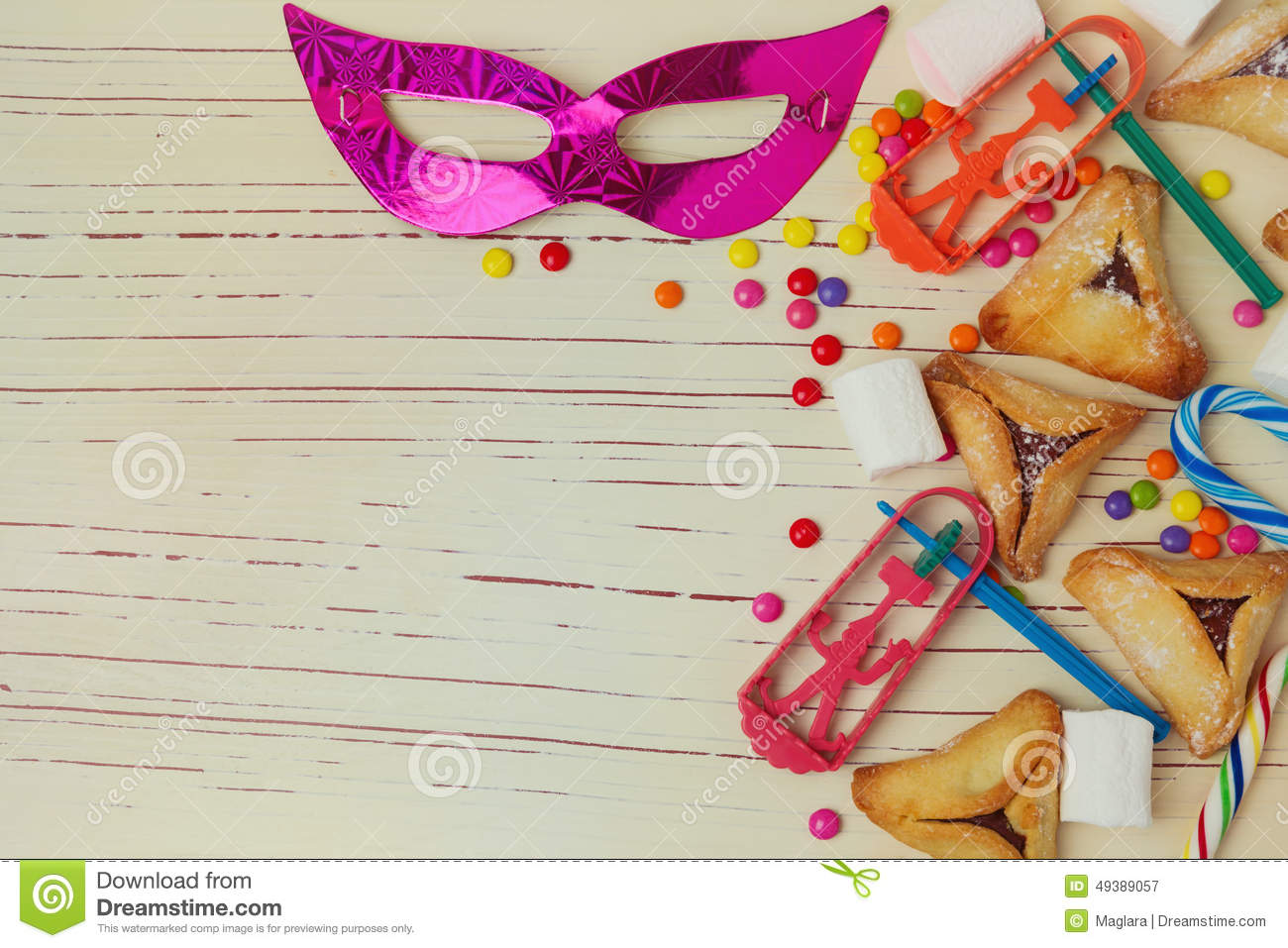 Background For Jewish Holiday Purim With Mask And Hamantaschen Cookies ...