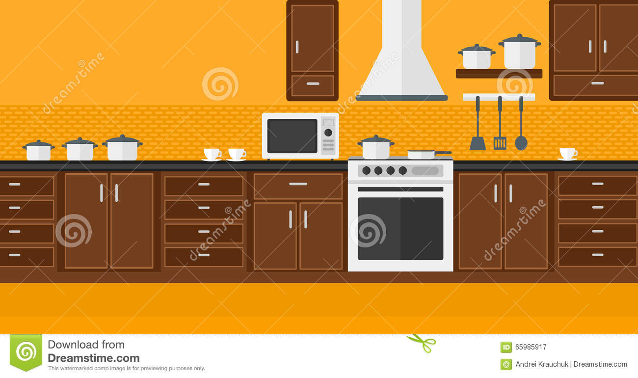 Background Of Kitchen With Appliances Vector Flat Design Illustration