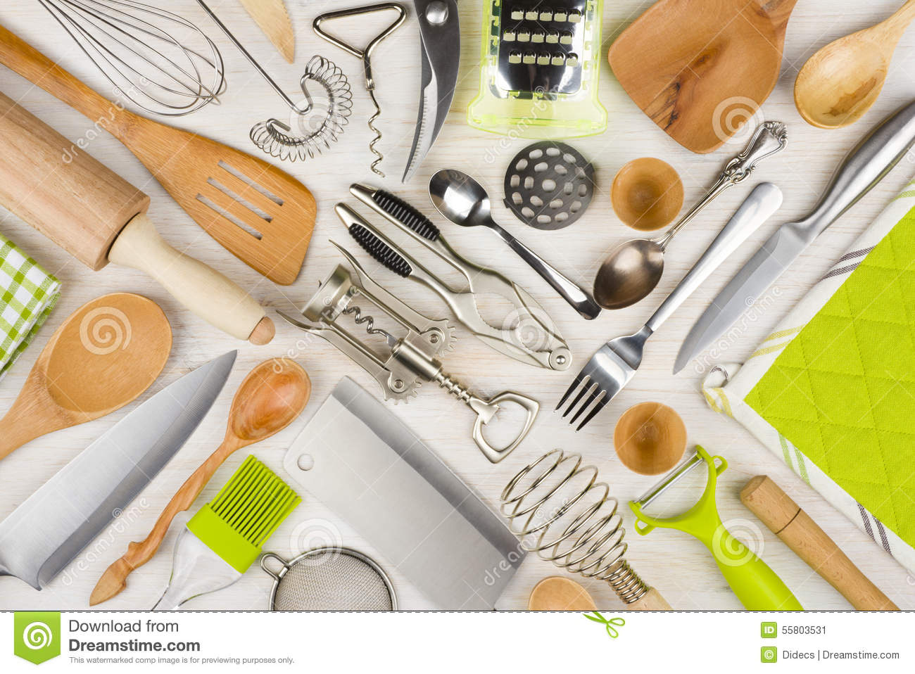 Wooden kitchen utensils stock image for Table utensils