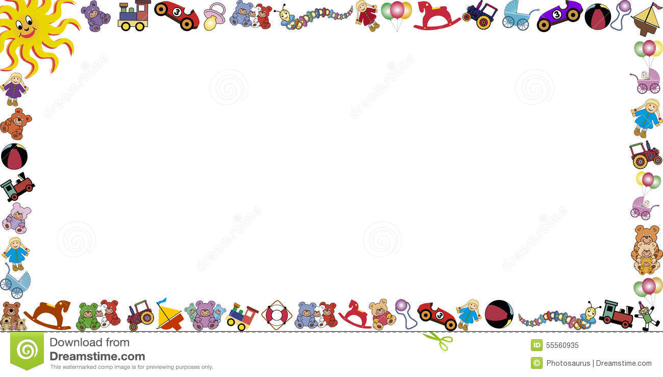 Background With Toys Border Stock Vector - Image: 55560935