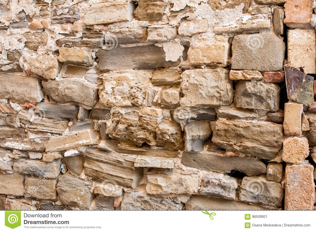 The Background Of The Large Natural Stone Textured Wall With