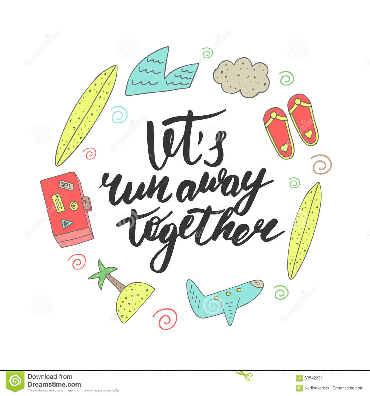 Background With Lets Run Away Together Lettering Quote Stock Vector