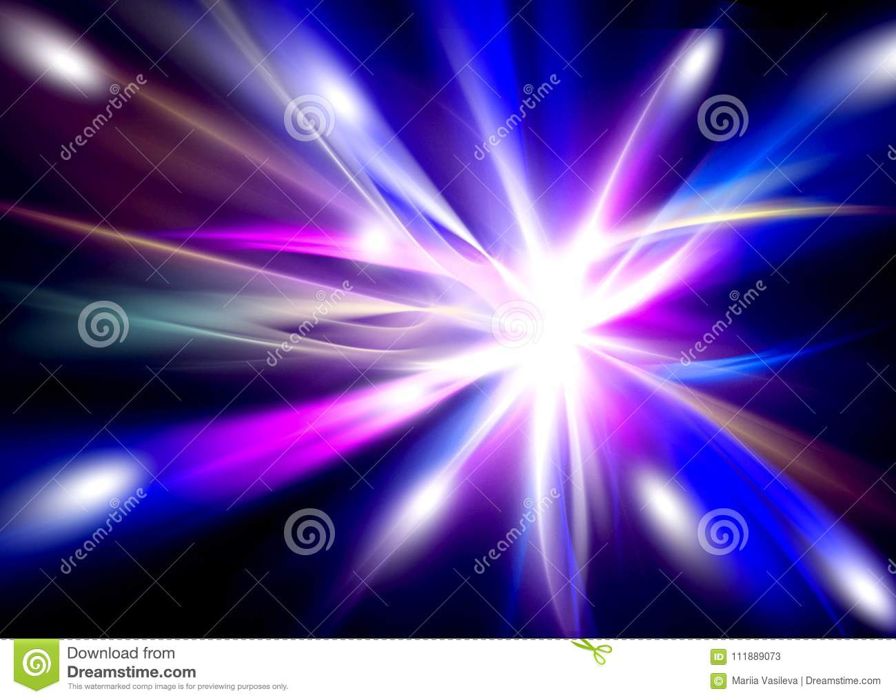 Abstract Glowing Background Of Blue And Pink Beams In The Black