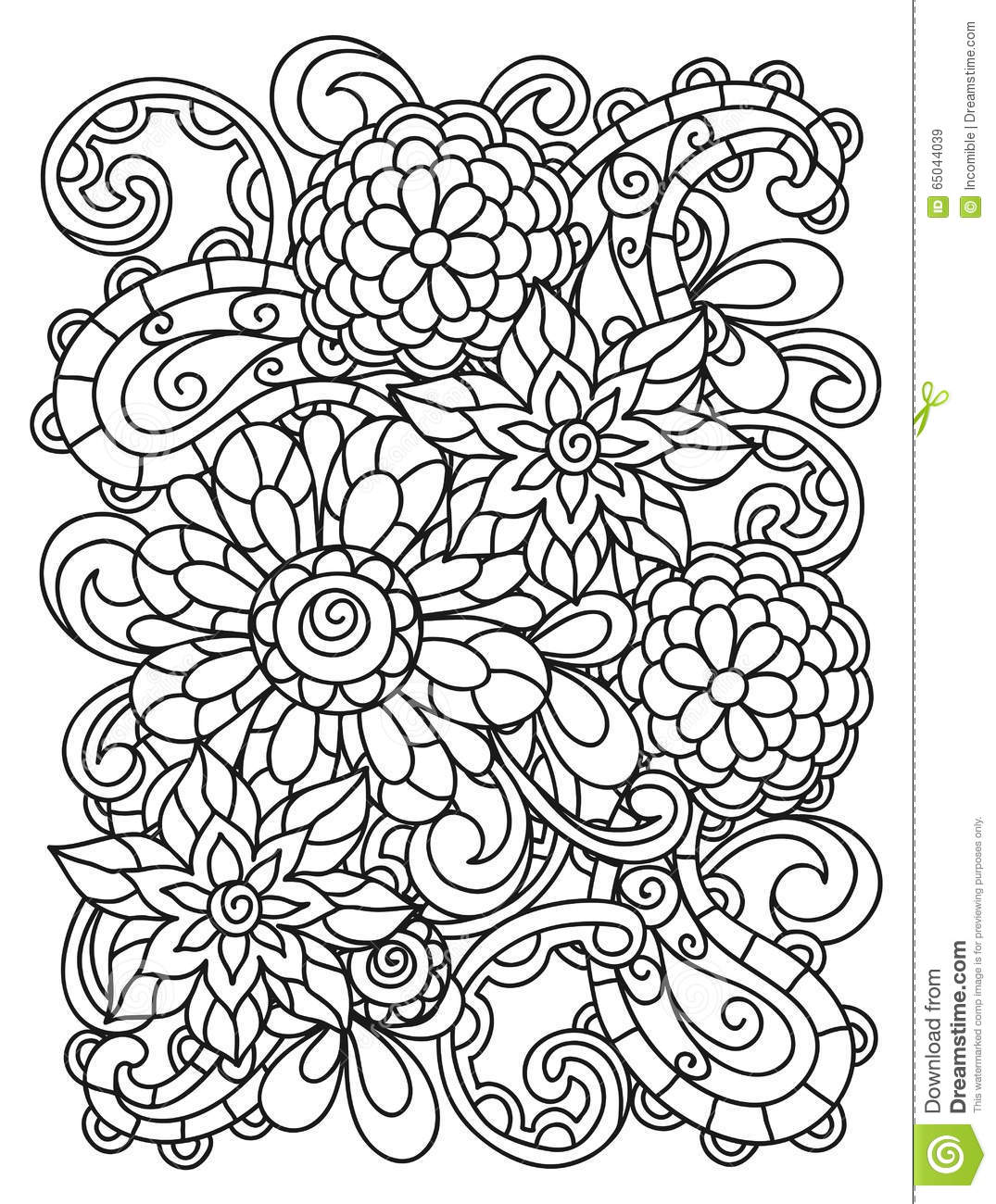 Background With Line Flowers For Adult Coloring Stock ...