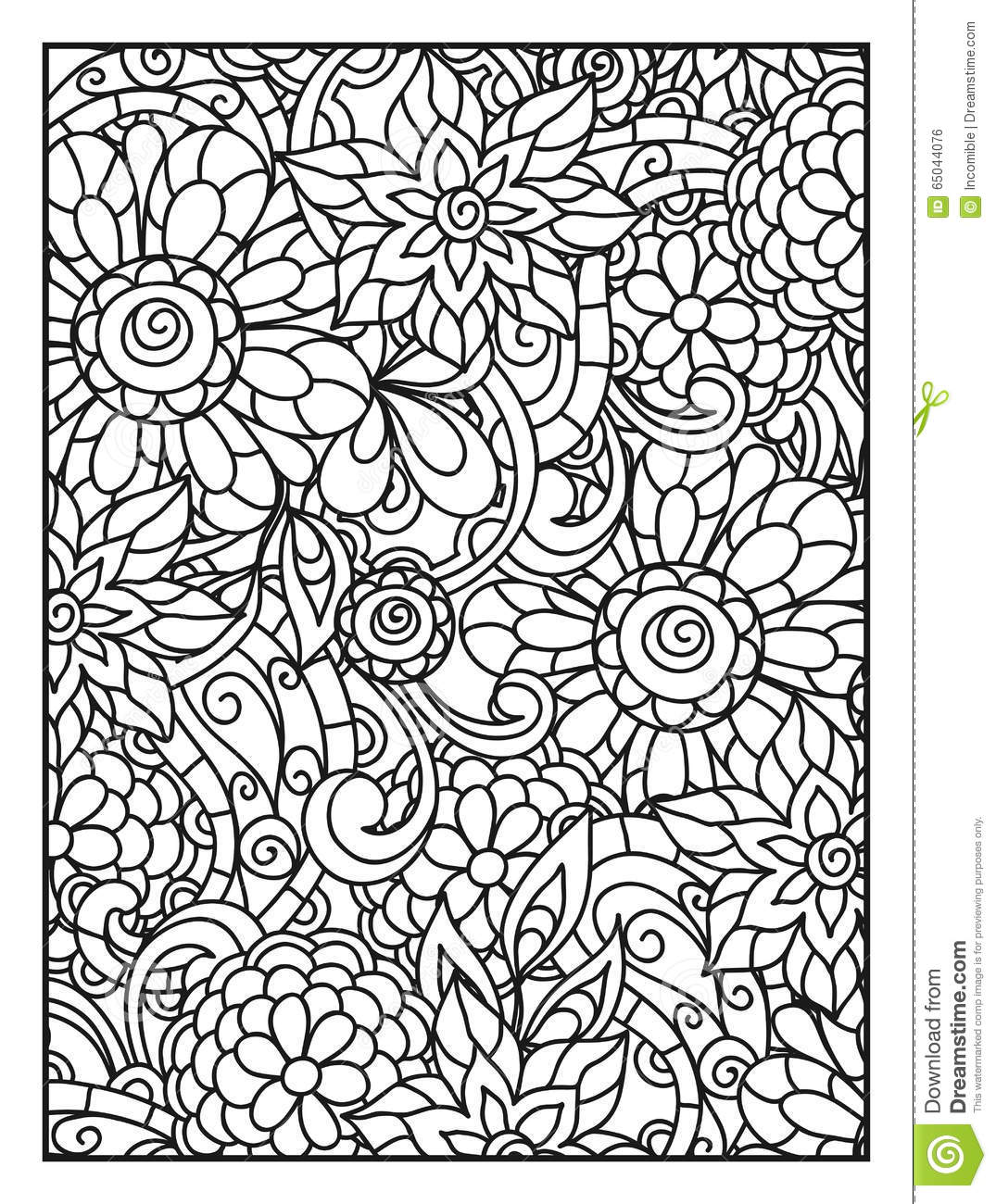 Background with line flowers for adult coloring stock for Background coloring pages