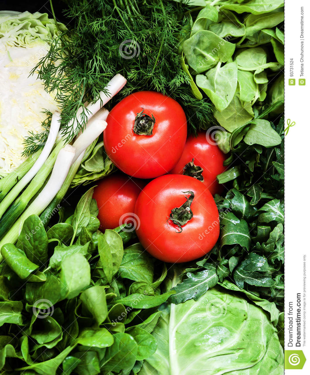 Background of a lot of fresh green different vegetables, herbs a