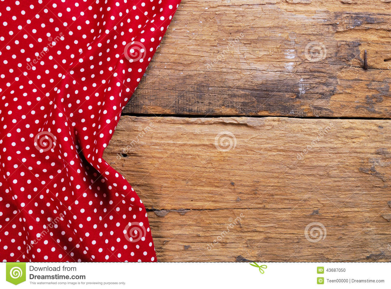 Picnic Table Background - The background made from checkered napkin on old wooden table stock photo