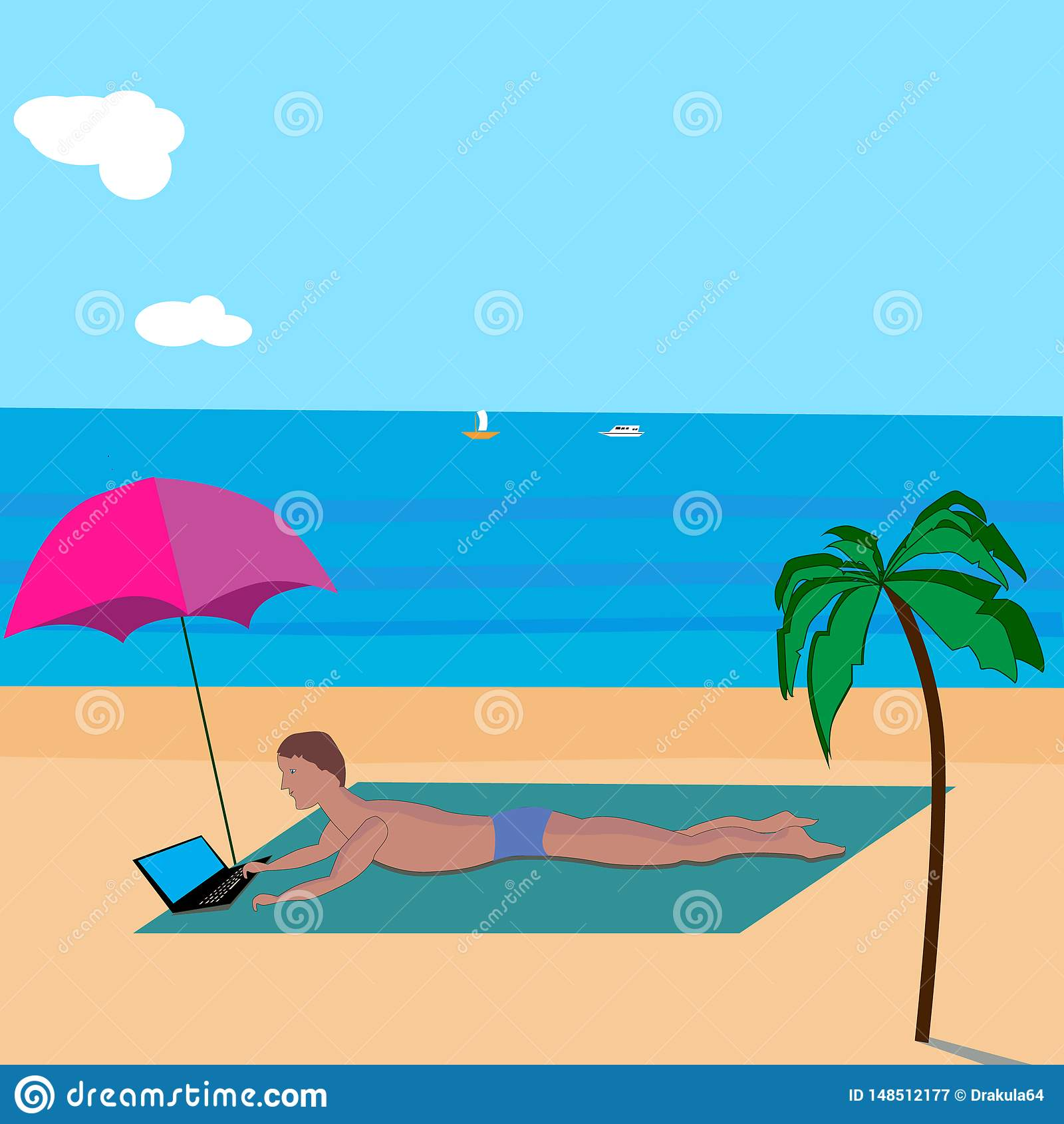 Background man with laptop sunbathing on the beach