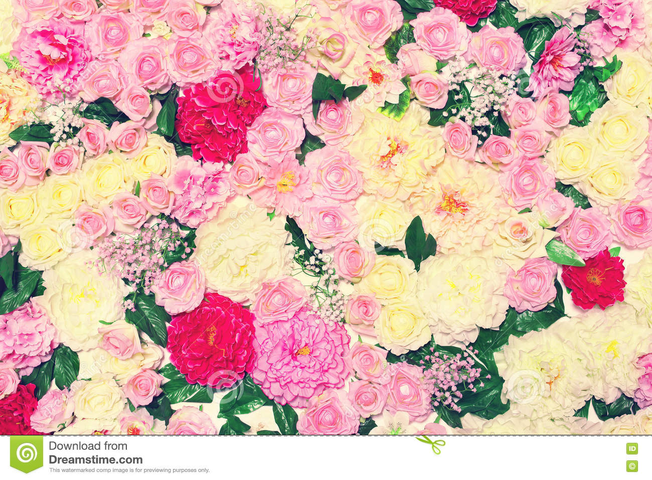 Background Many Flowers, Floral Decoration Wall. Gentle Pastel Toned ...