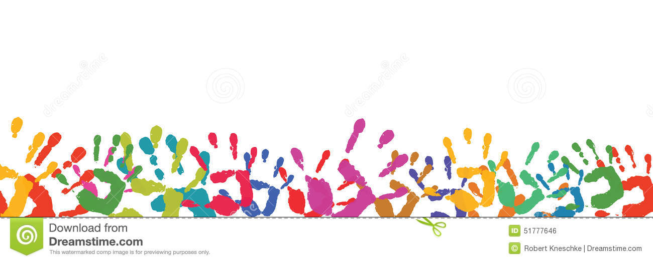 Background With Many Hand Prints Stock Illustration