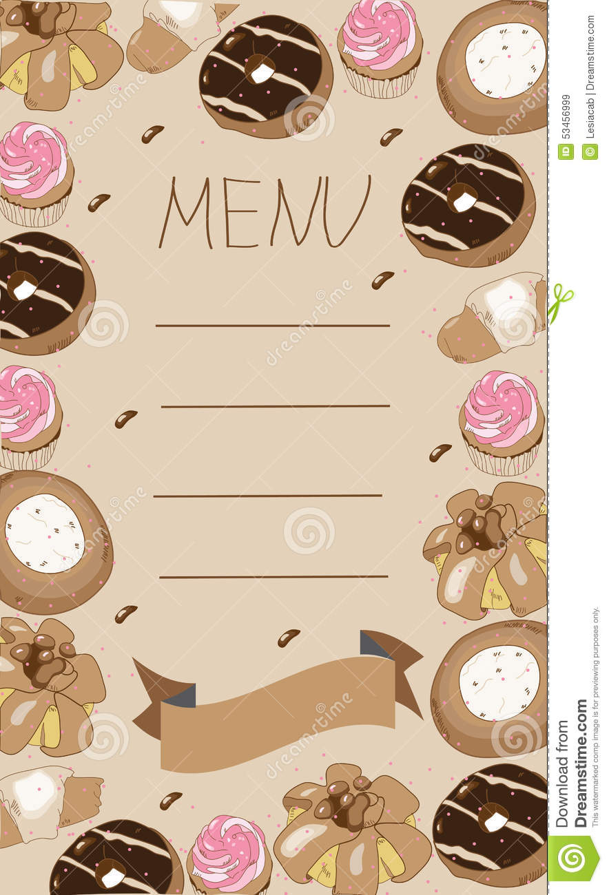 Background Menu With Pastries Cake Doughnut Muffin Stock