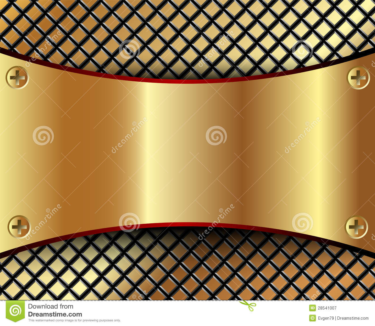 background with a metallic gold plate and grid stock