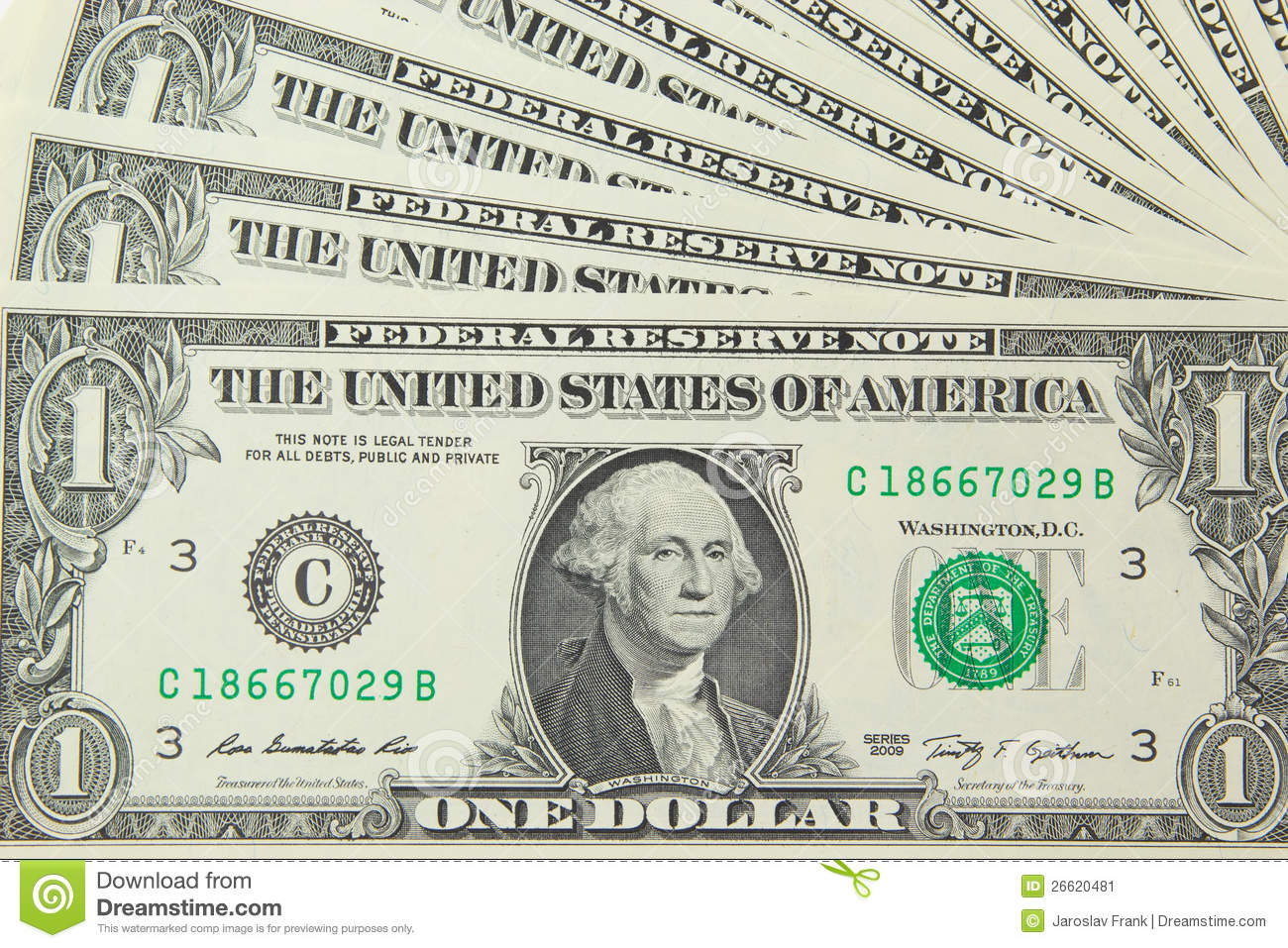 Background With Money US 1 Dollar Bills Stock Image - Image: 26620481