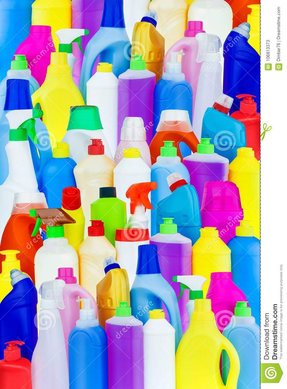 Background of multi-colored bottles with household chemicals