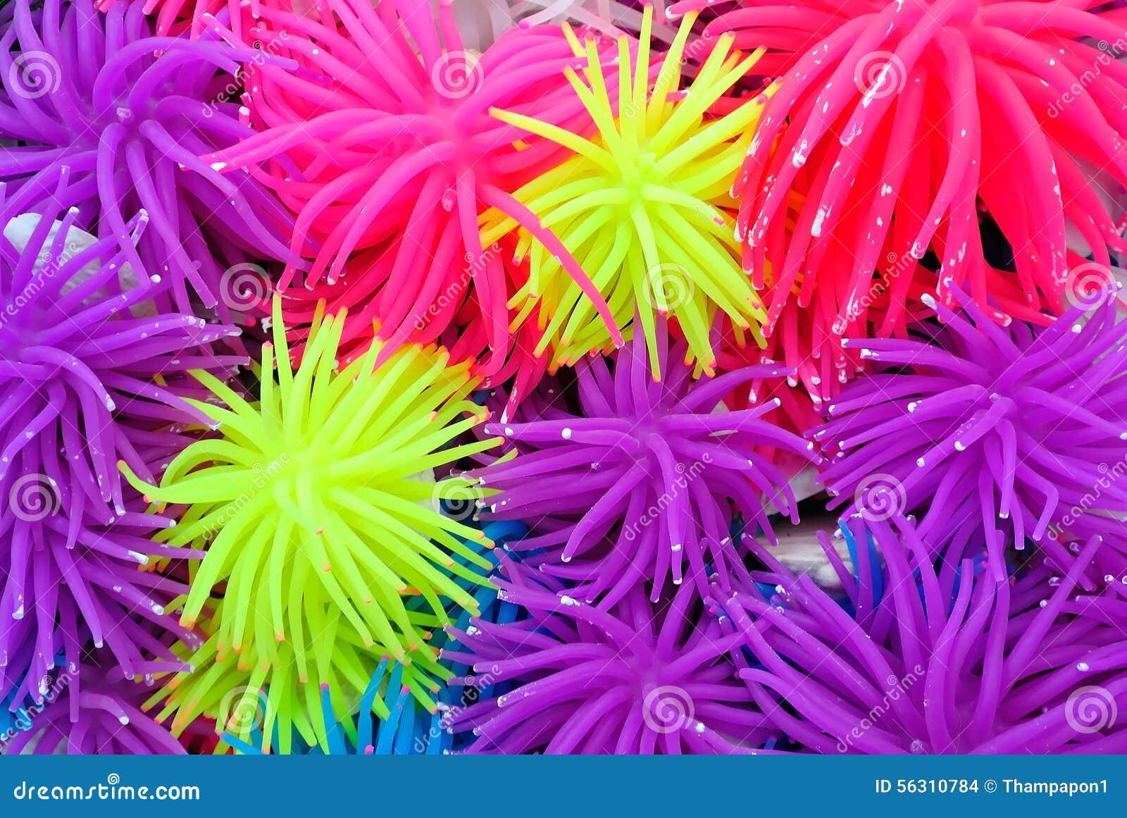 Background of multicolor rubber or silicone sea anemone for Aquarium decoration sealant