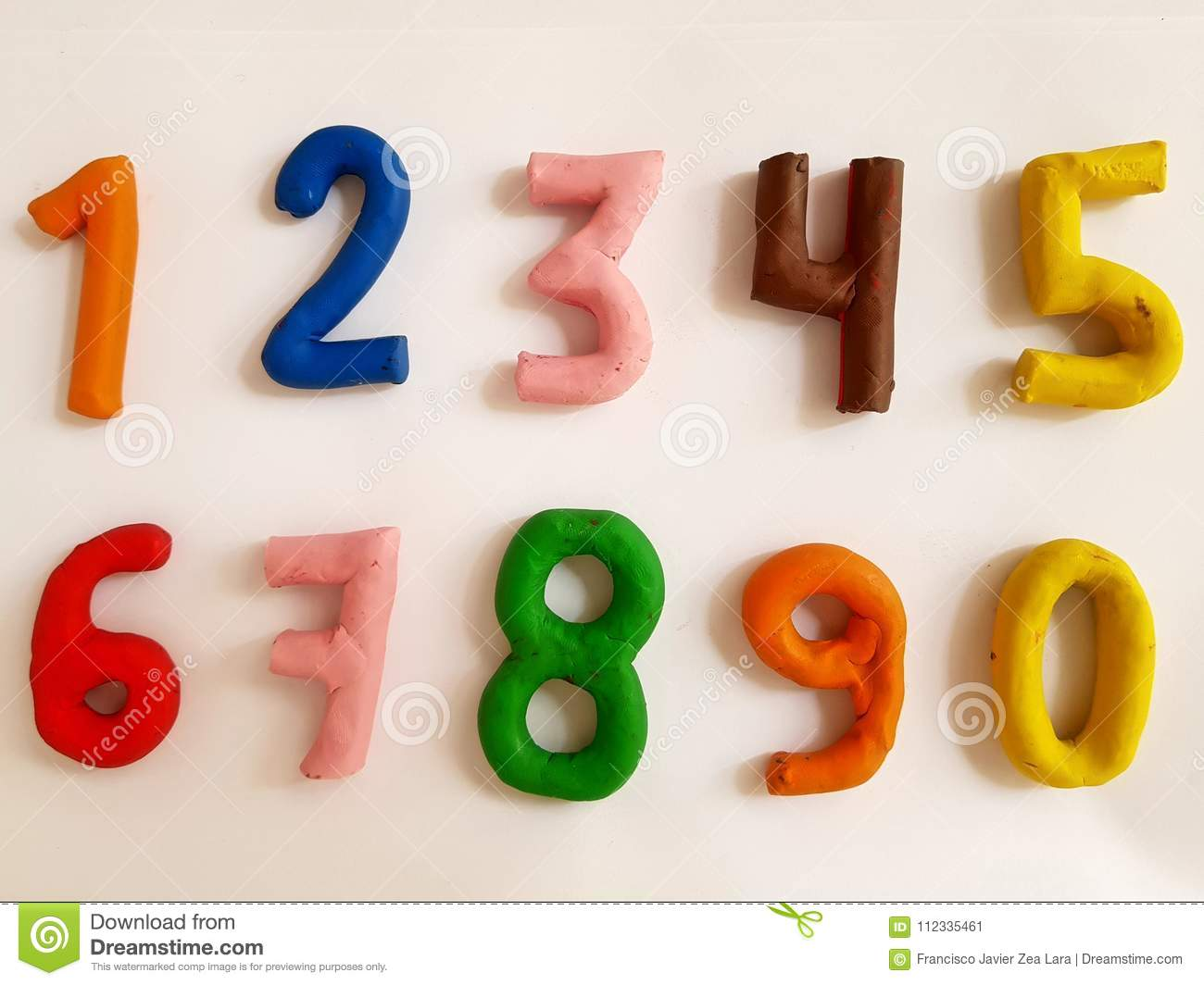 Single-digit Numbers Made With Clay In Various Colors Stock ...