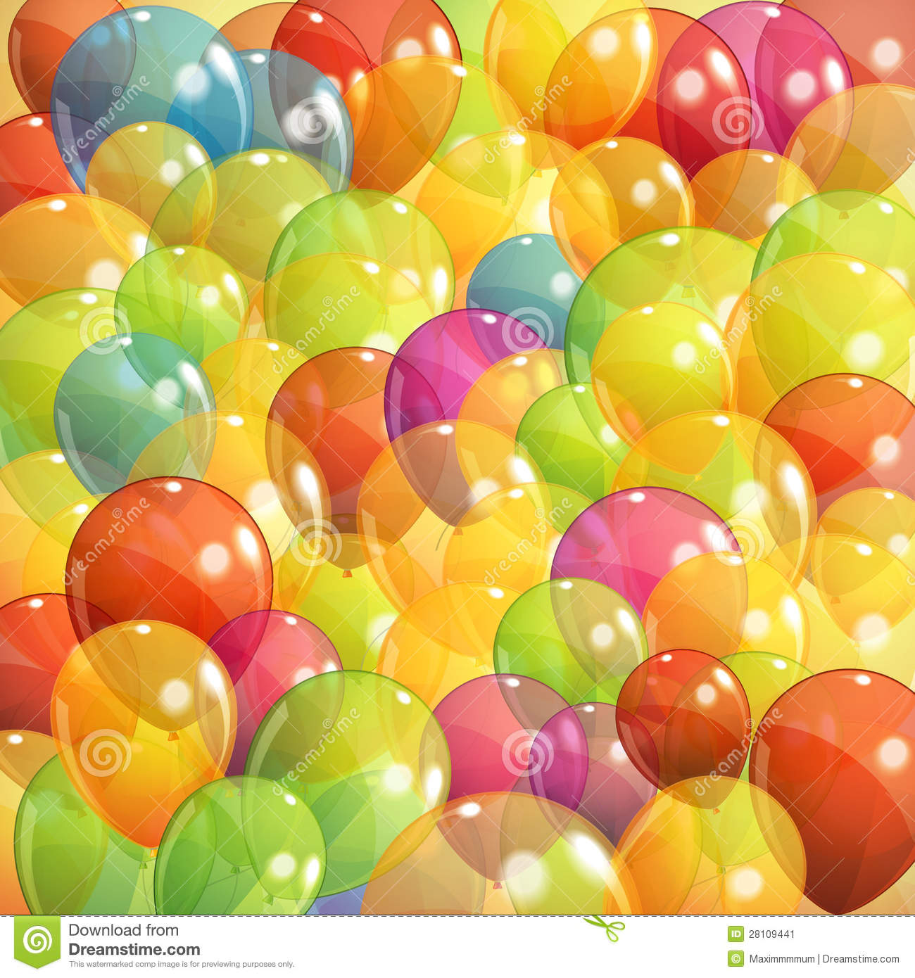 Background With Multicolored Transparent Balloons Stock