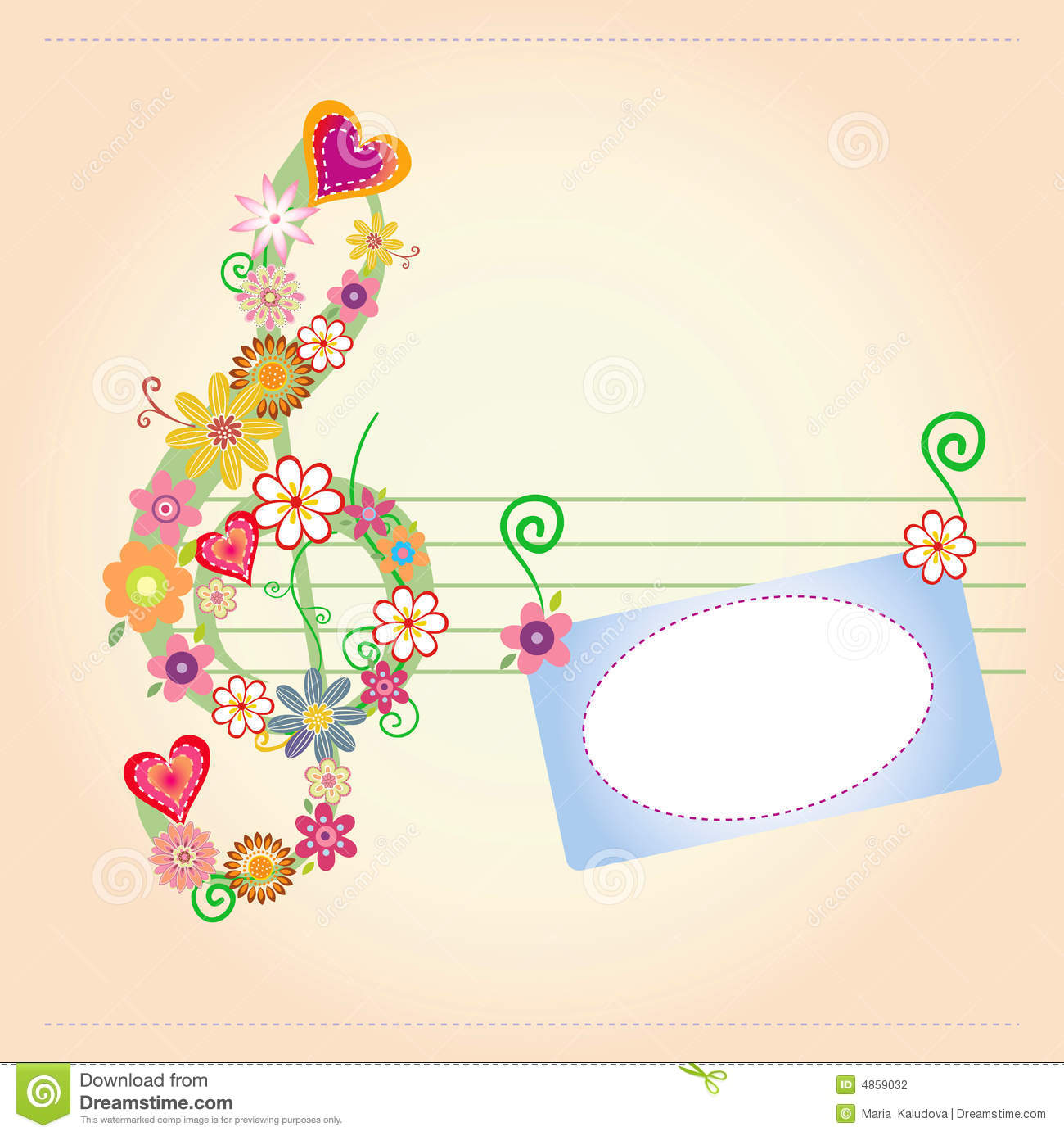 Background Music Flowers Card Stock Vector