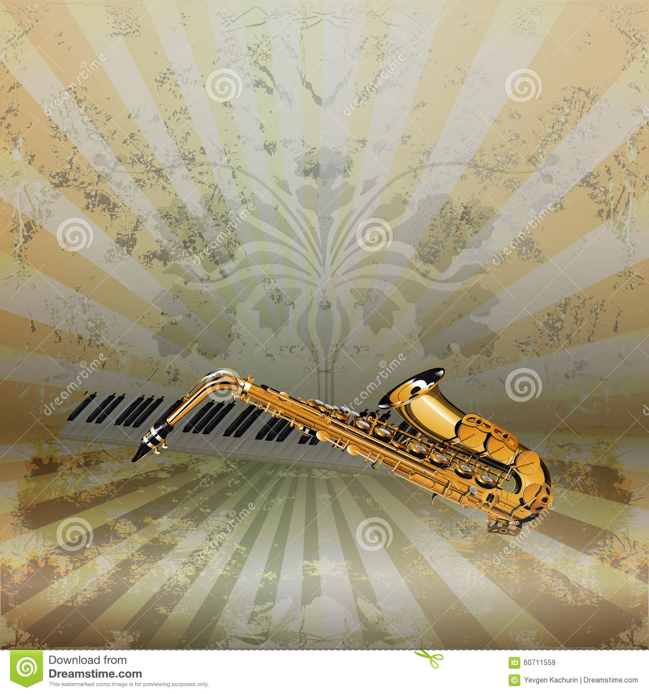 Piano Background Music: Background Music Jazz Saxophone And Piano Keys Stock