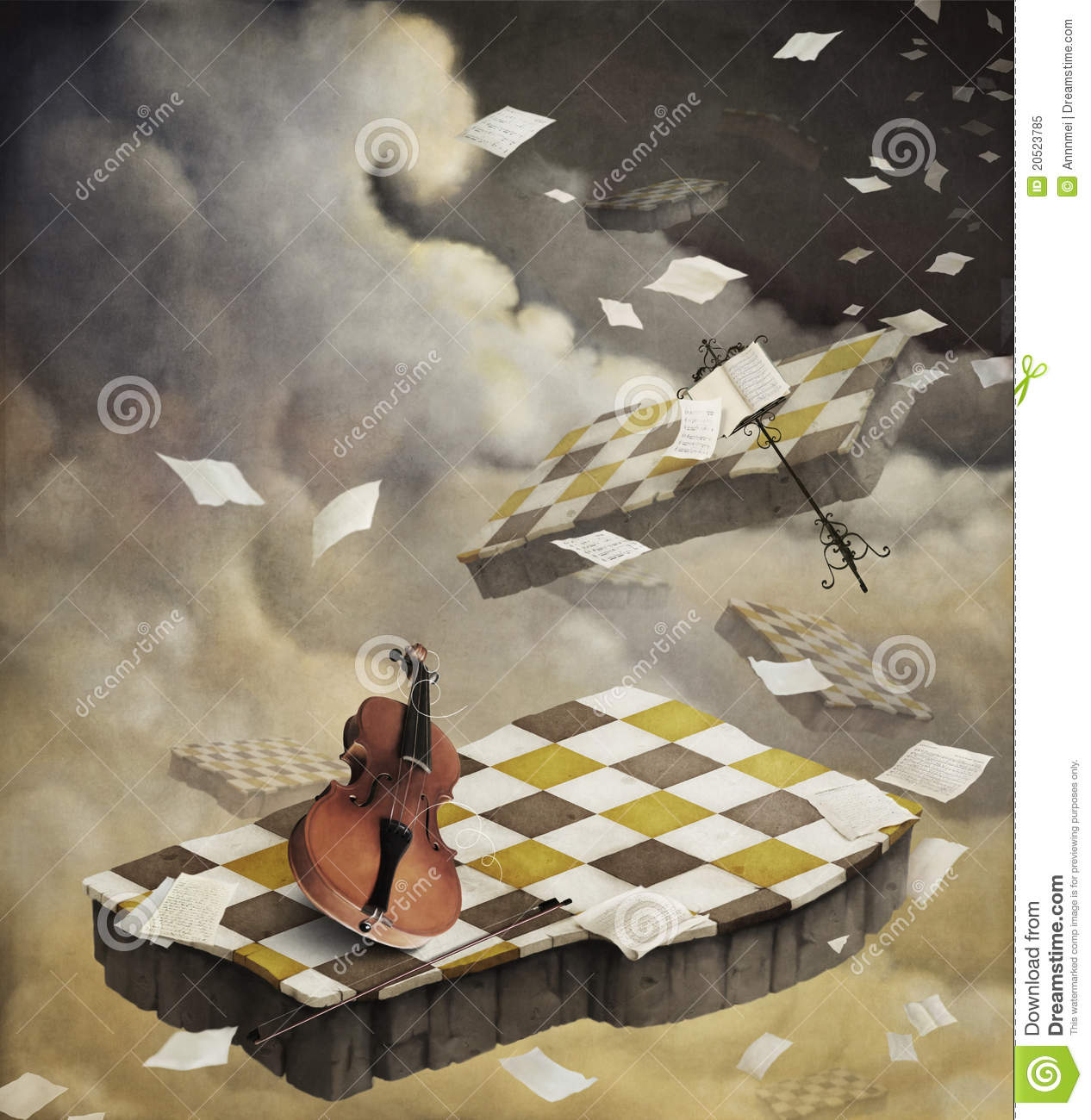 Background music with violin and sheet music.
