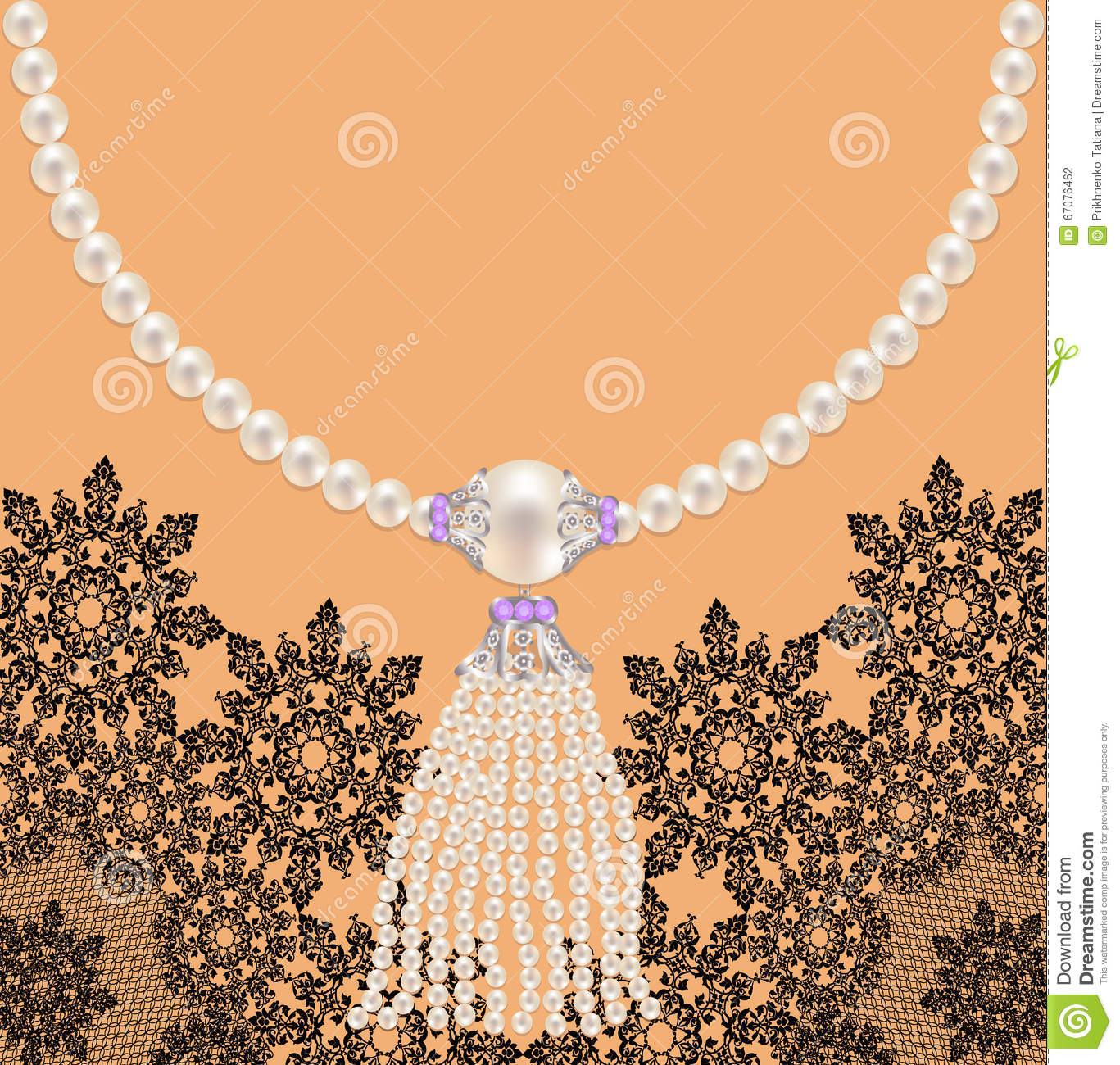 Background with necklace stock vector. Illustration of ...