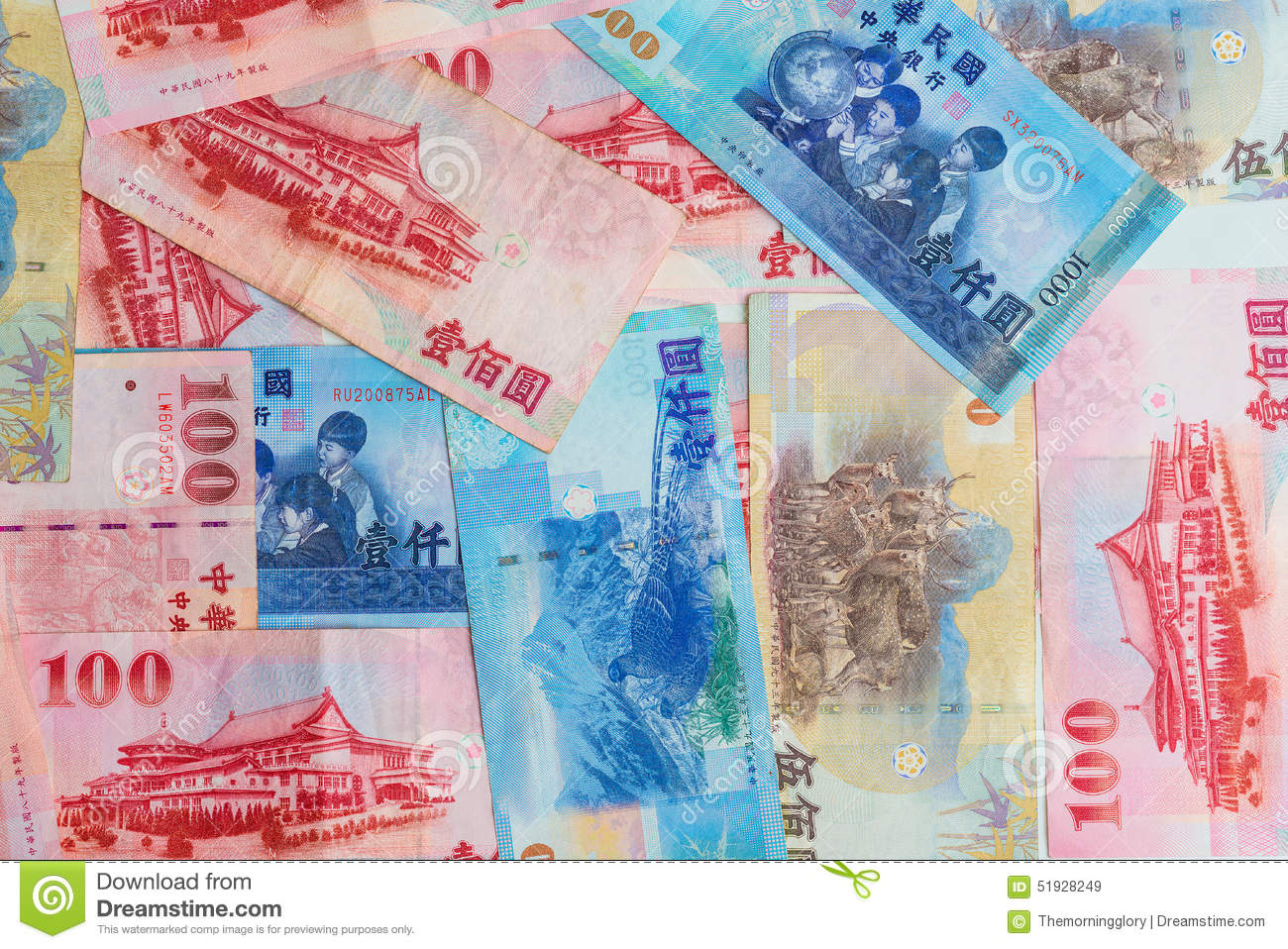 Background Of New Taiwan Dollar 1000, 500 And 100 Stock ...