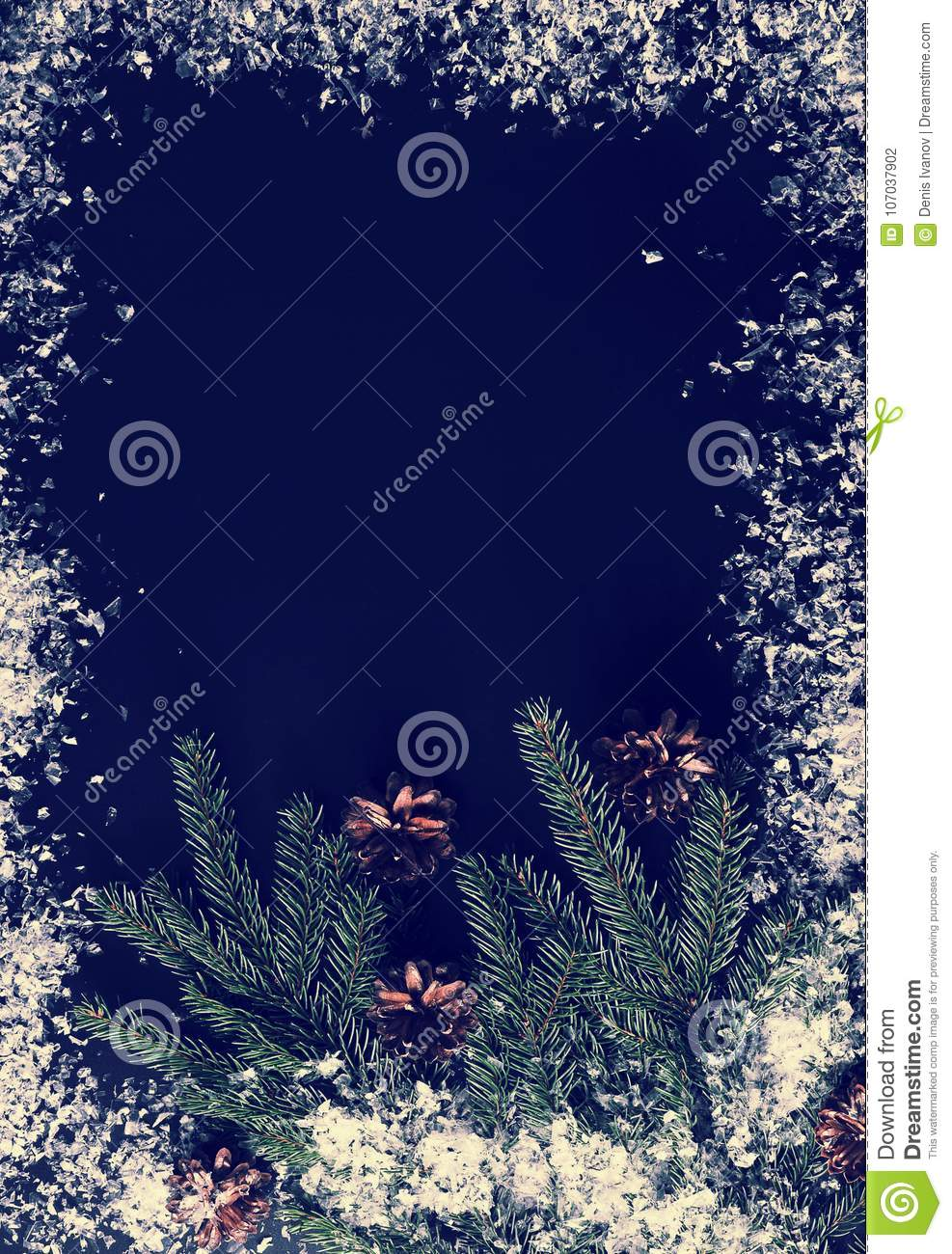 Background For New Year Greetings Tree Branches Cones And Sno