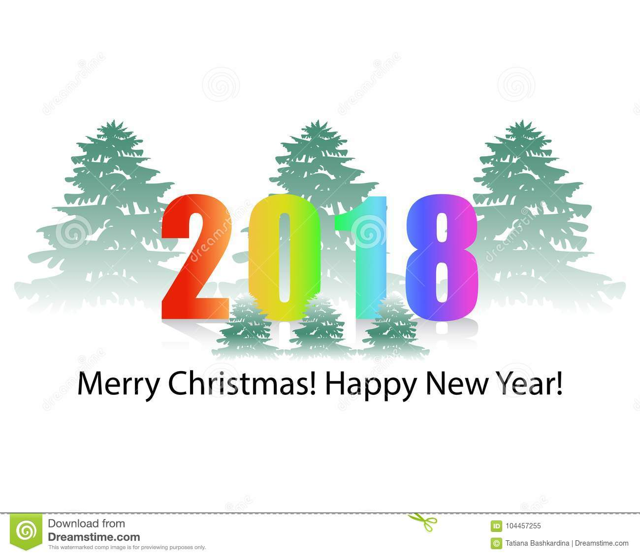 2018 Background Of A New Year Snow-capped Christmas Tree On A Wh ...