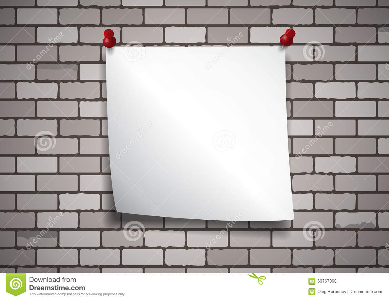 Background With Note Paper On A Brick Wall Stock Vector