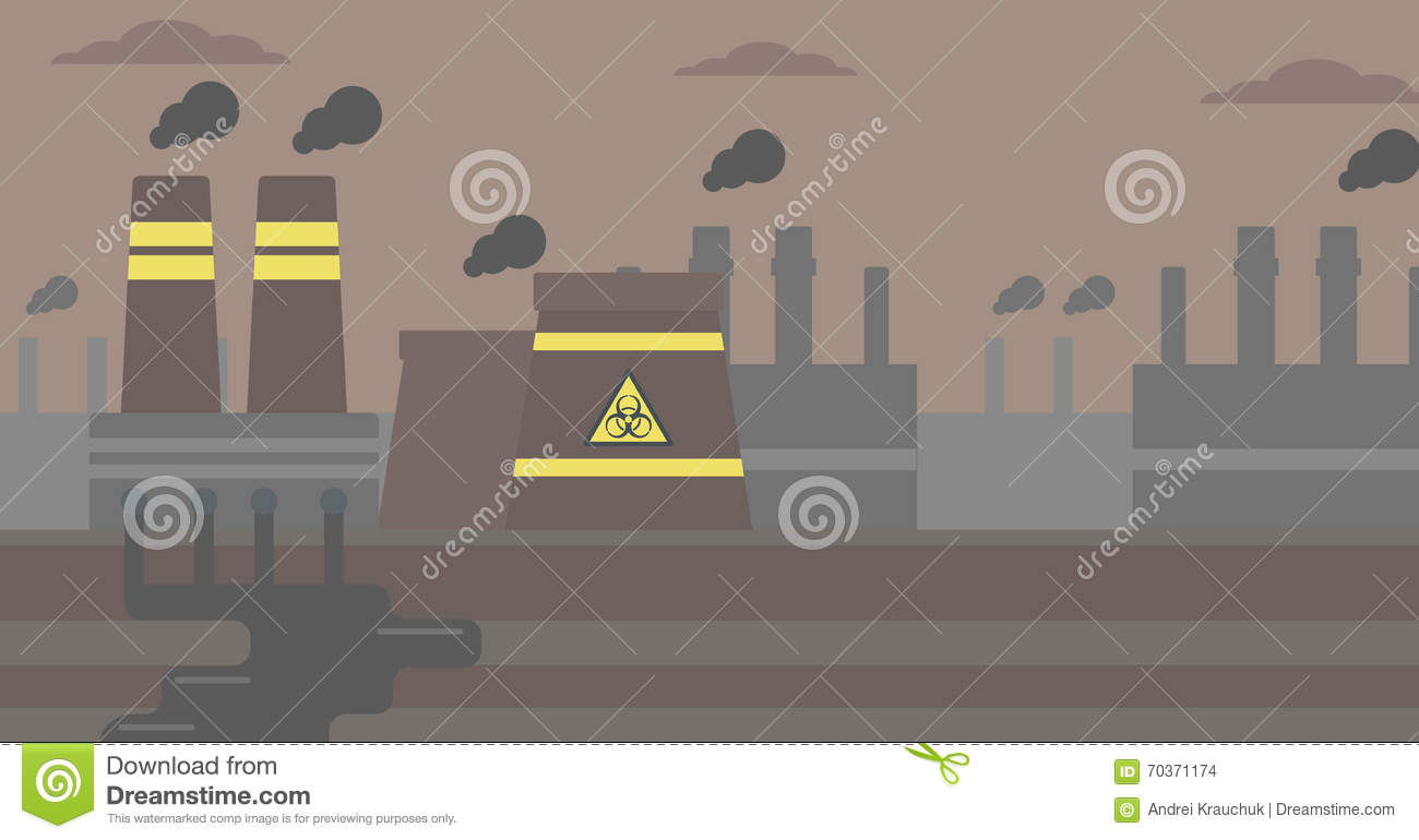Background Of Nuclear Power Plant Stock Vector Illustration Layout Images Flat Design Horizontal