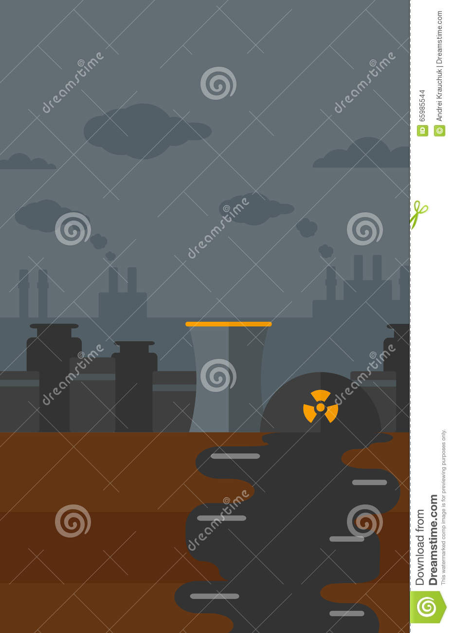 Background Of Nuclear Power Plant Stock Vector Illustration Layout Images Flat Design Vertical