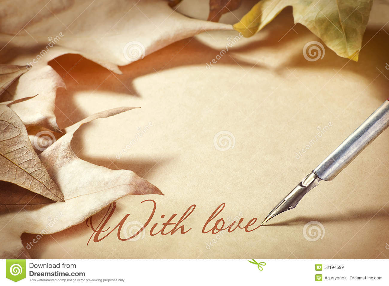 Background of old paper with pen and ink. Letter of congratulation for the holiday of love, Valentine