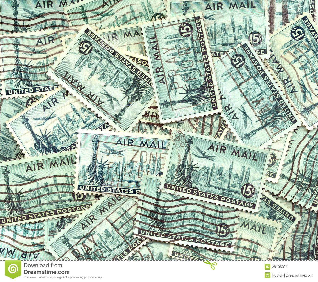 Background Of Old US Air Mail Postage Stamps Stock Image Image - Free us map mail