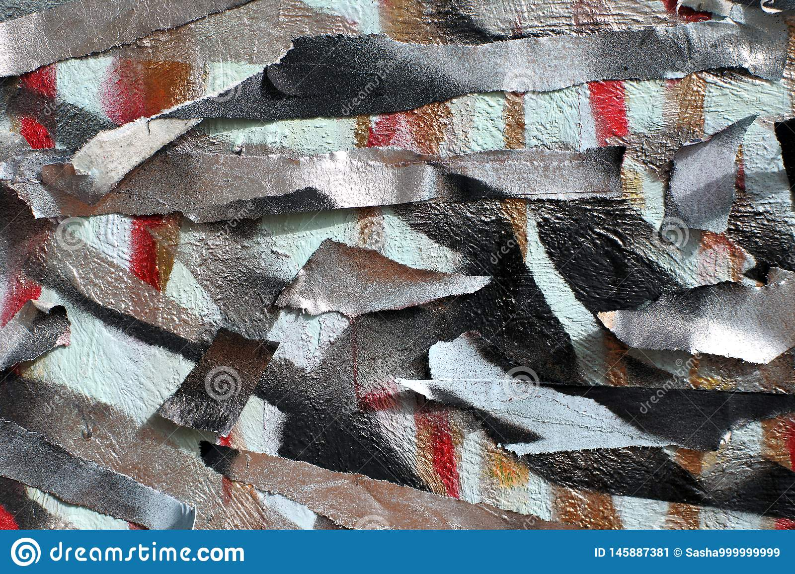 Background of old wall with unpainted colored lines. Stencil with masking tape. Red black and blue layers