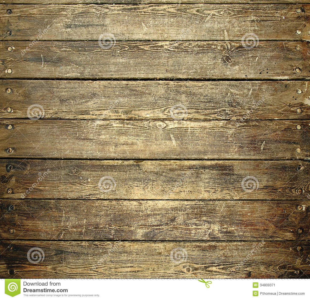 Worn Down Wooden Planks ~ Background of old worn wooden planks with nails stock