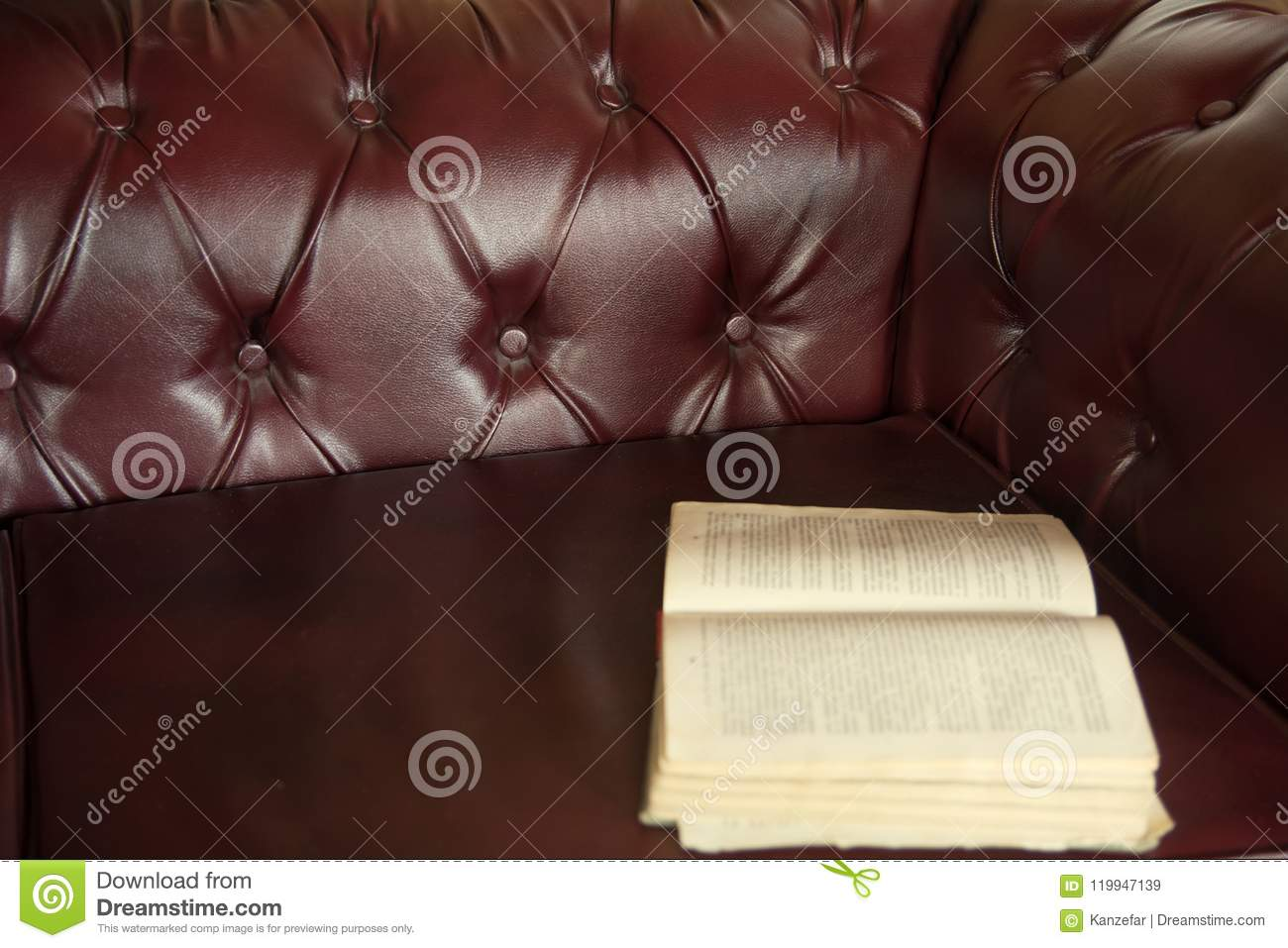 Background Is An Open Old Book On A Claret Colored Leather Sofa