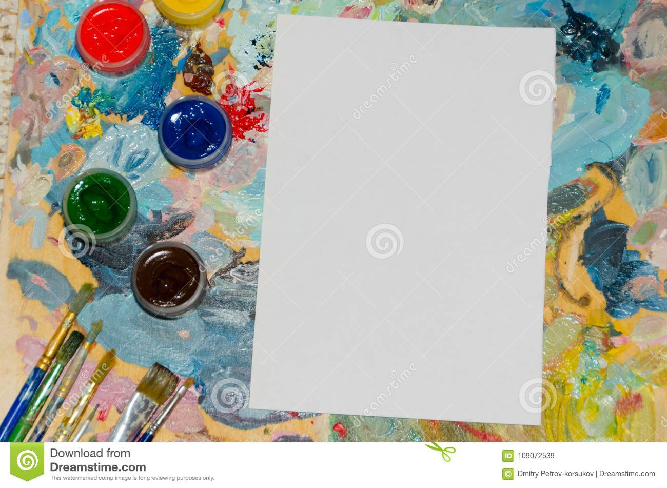 Clipart, white sheet of paper with brushes background