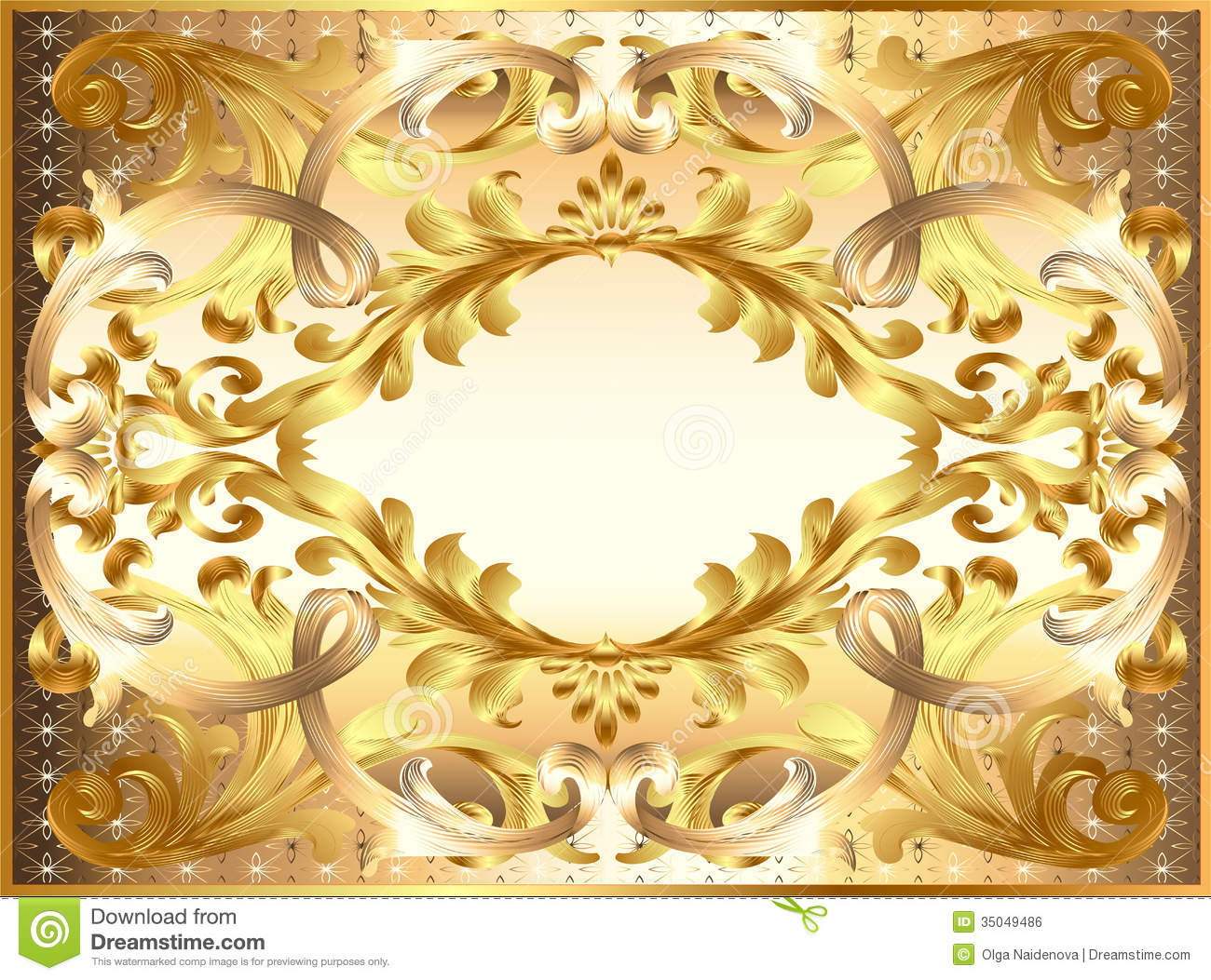 background painting frame with ornaments of gold