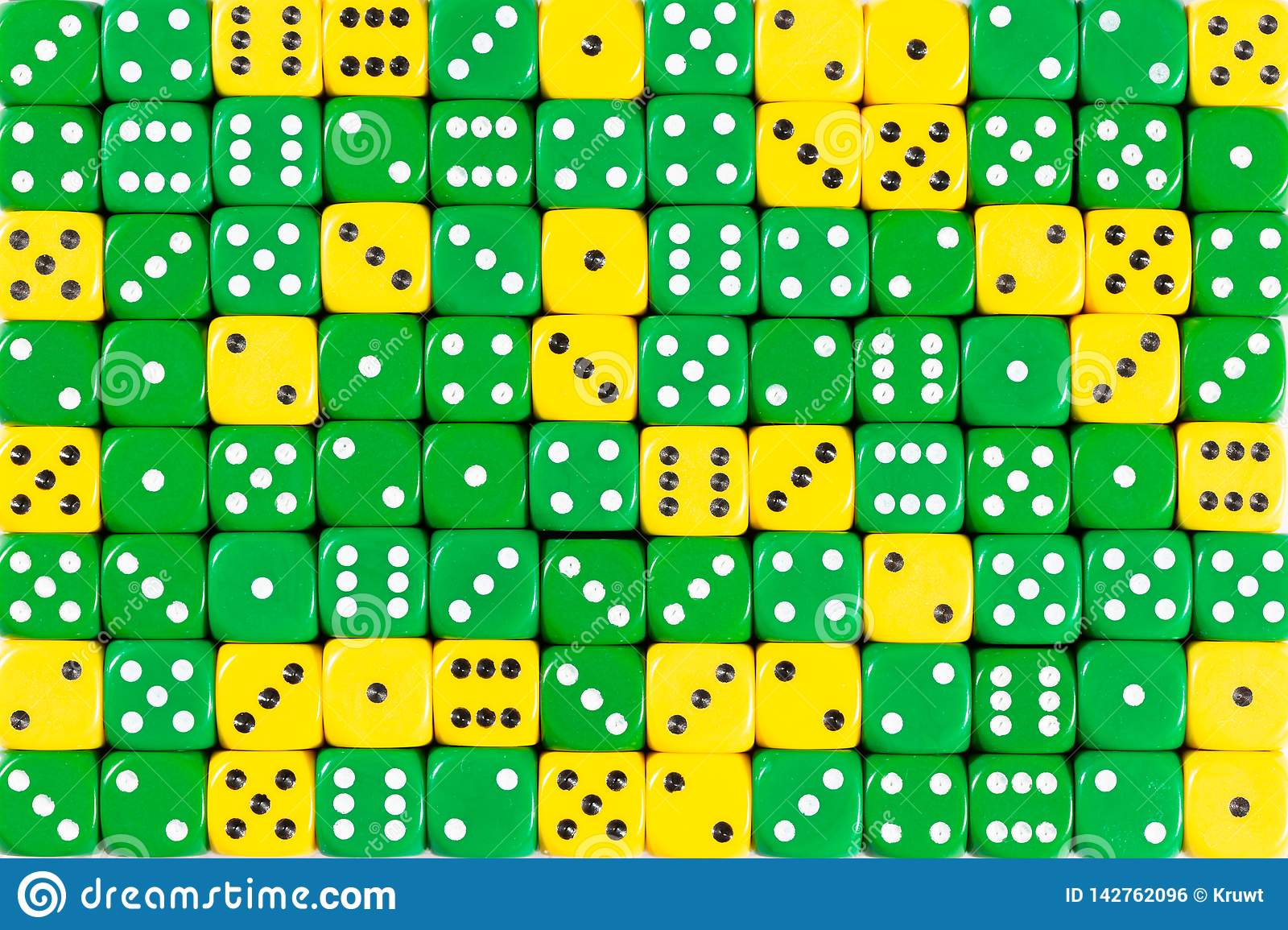 Background patteren of random ordered green and yellow dices