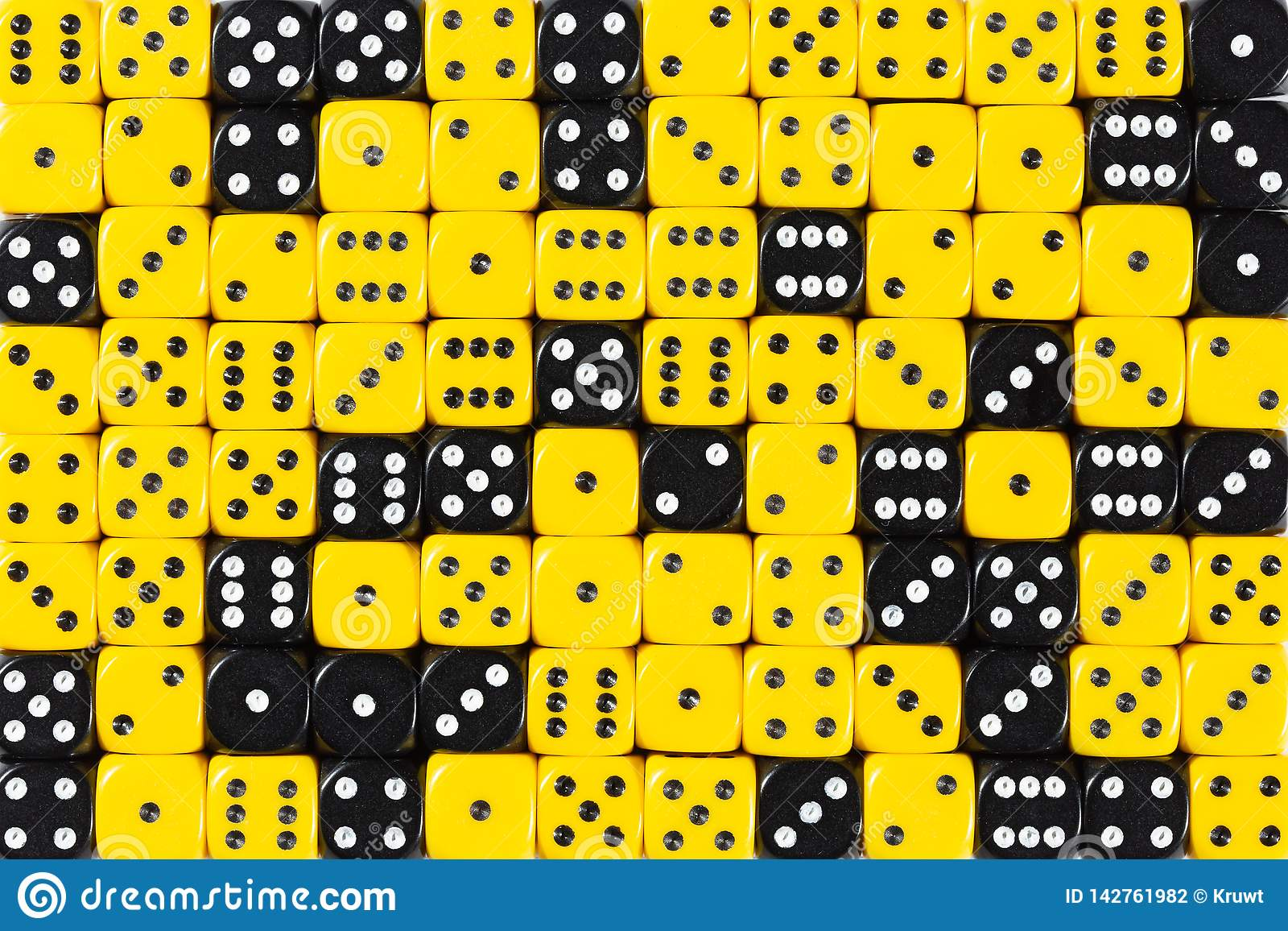 Background patteren of random ordered yellow and black dices
