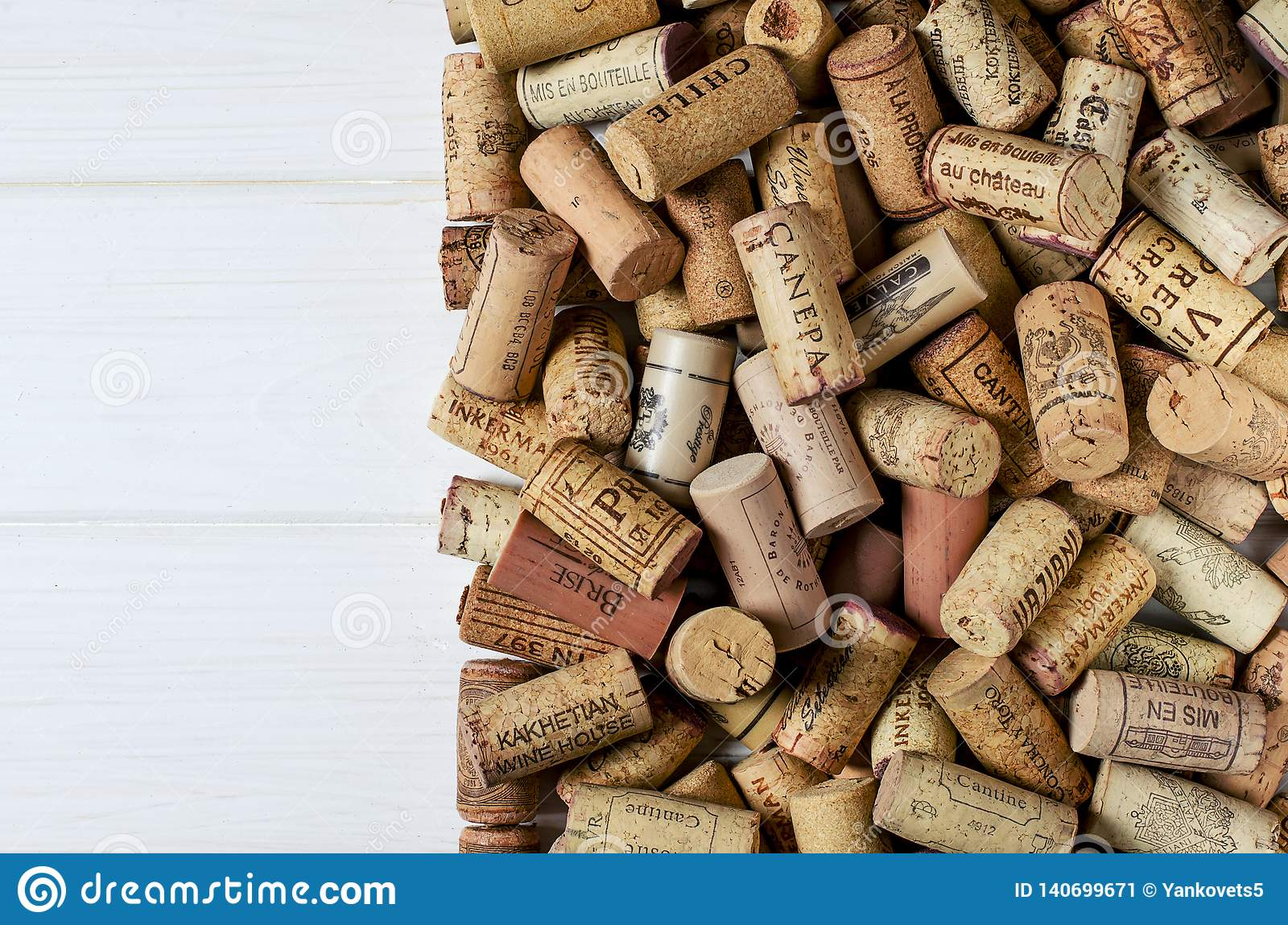 Background Pattern Of Different Wine Bottle Corks, Winery