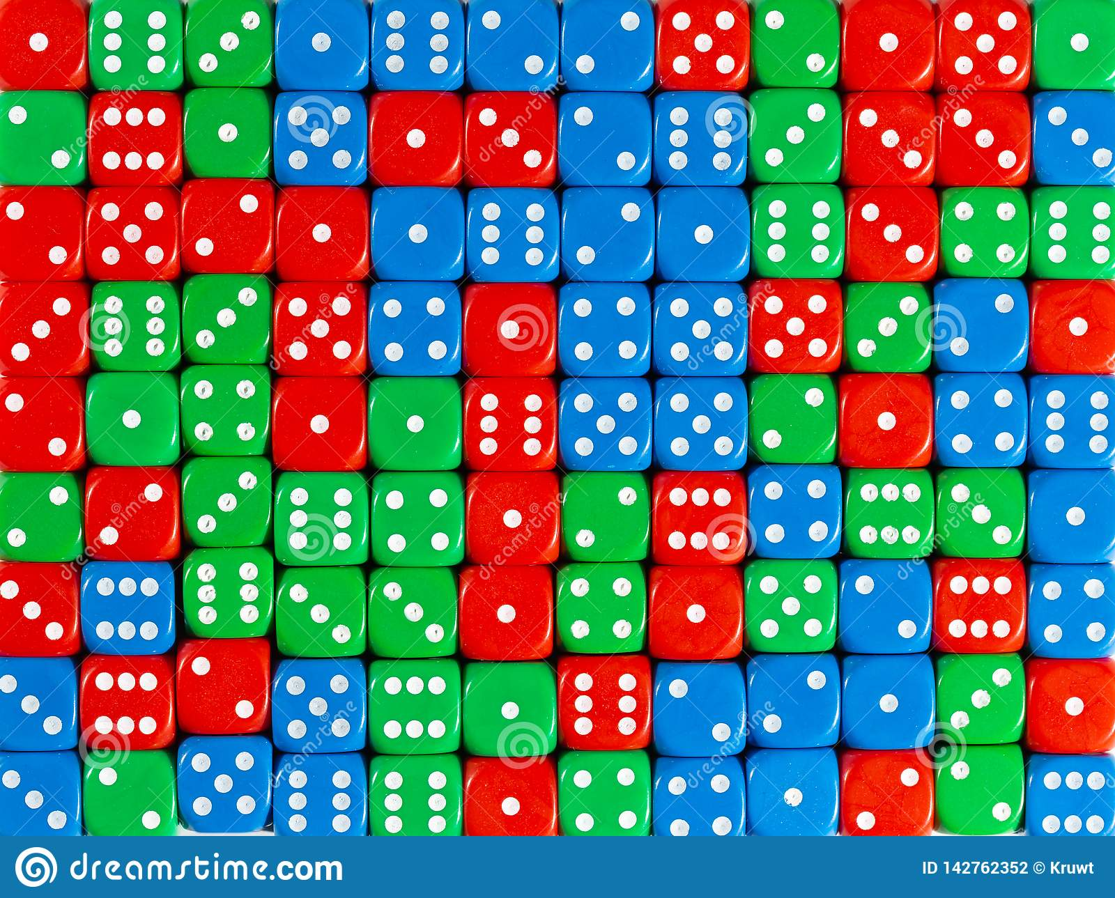 Background pattern of random ordered red, green and blue dices