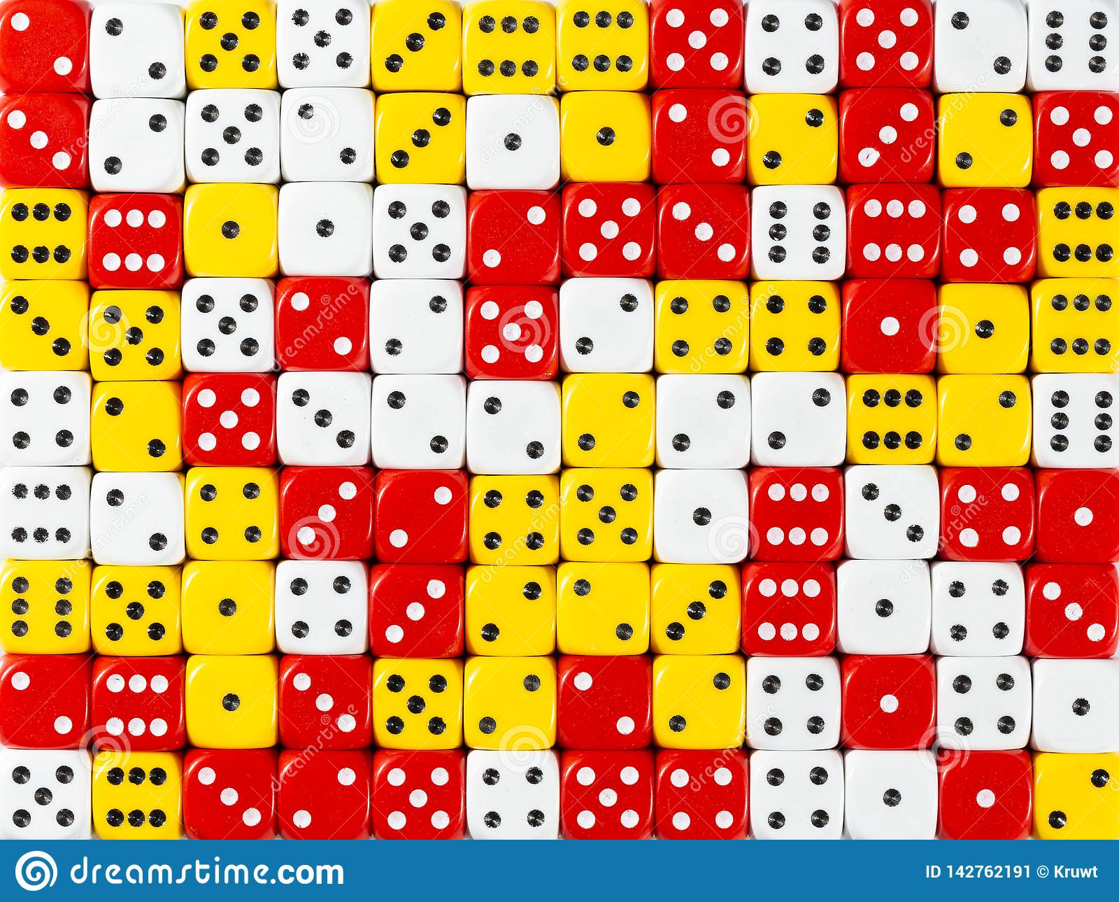 Background pattern of random ordered white, red and yellow dices
