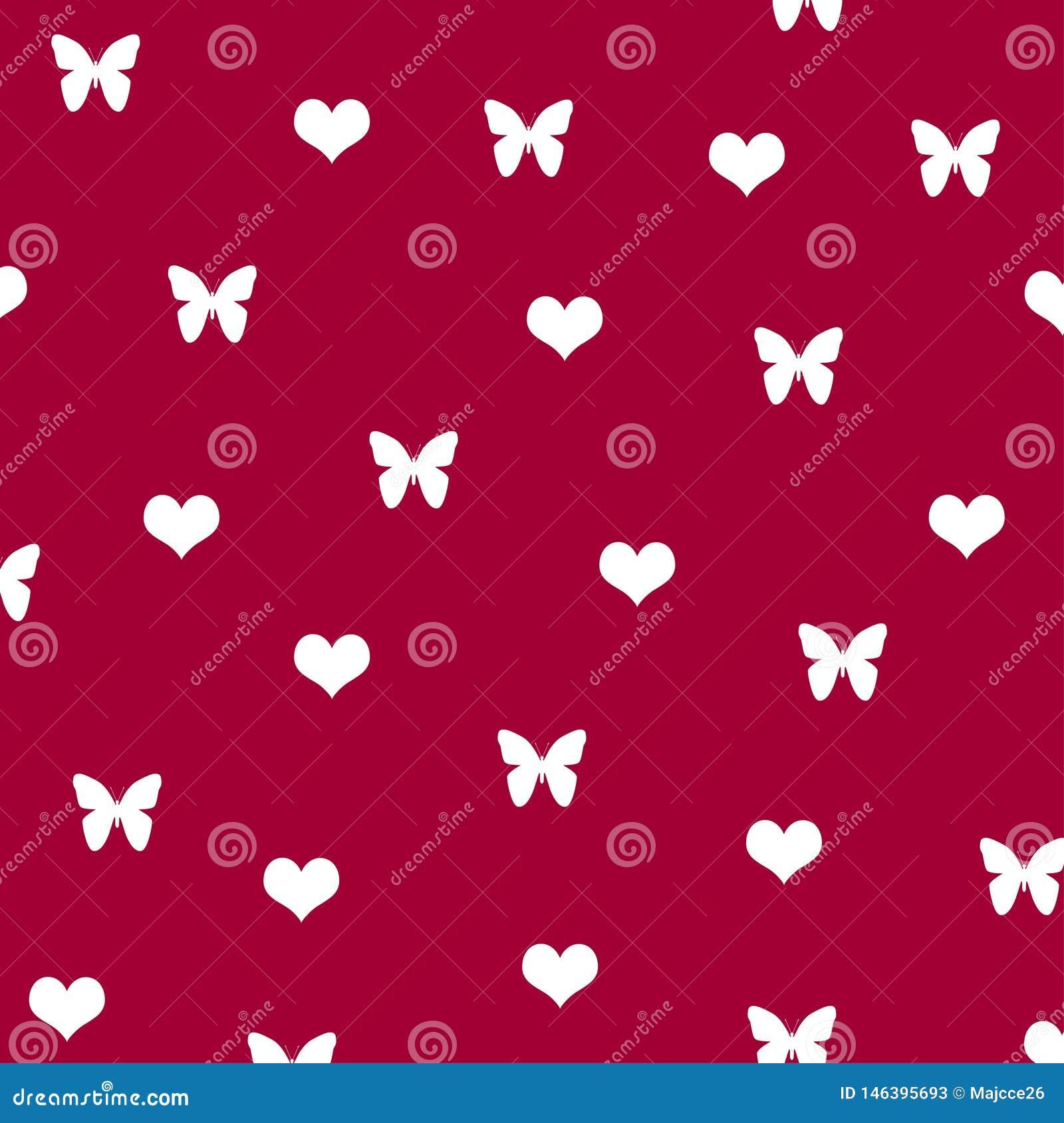 Background Pattern White Butterfly Heart Love Cute Wallpaper Stock