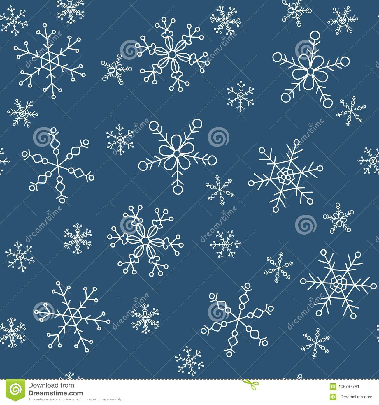 snowflakes of different styles on a background of blue pattern