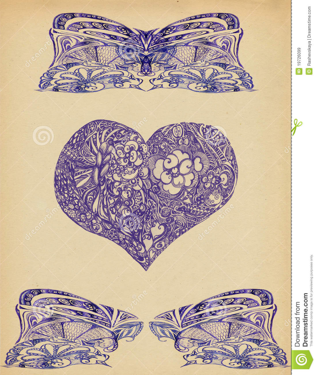 Background with patterns and heart