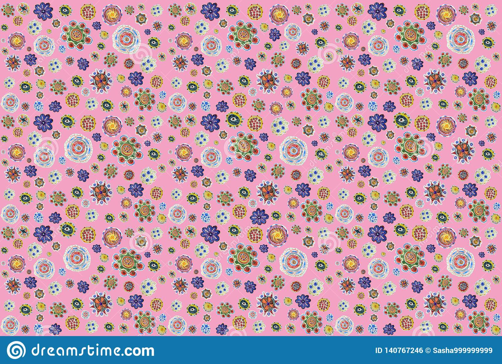 Background of pencil-drawn colorful flowers. hand drawing pattern