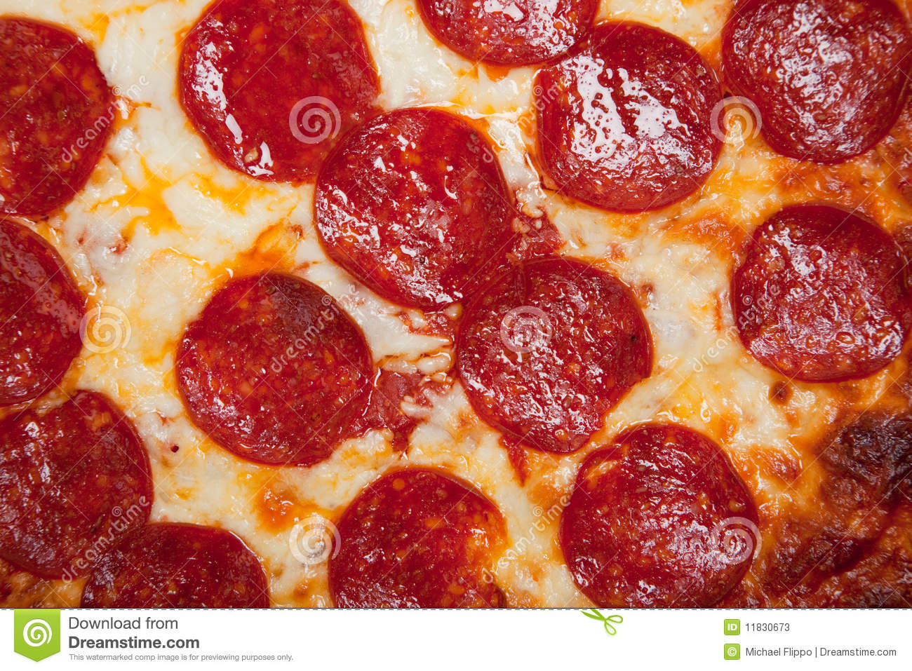 Background of pepperoni pizza with cheese